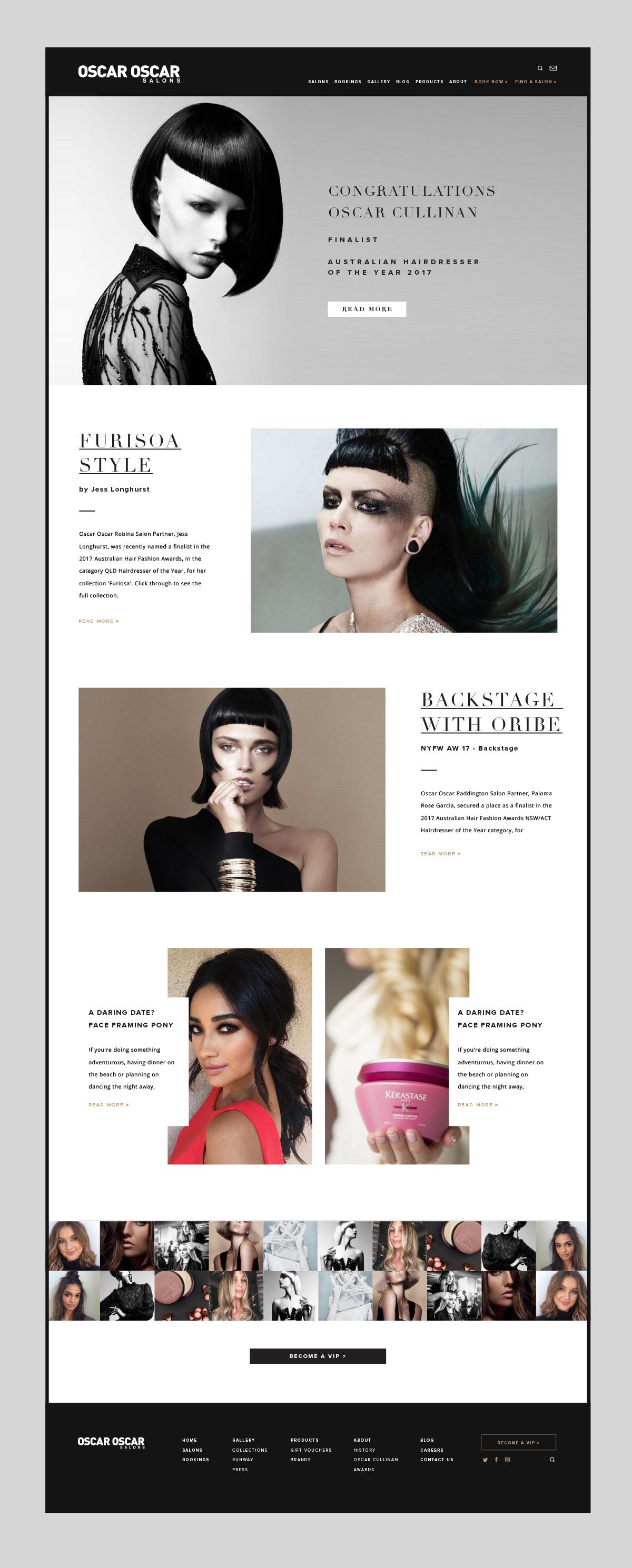 Oscar Oscar Salons Graphic Design - Responsive view of website